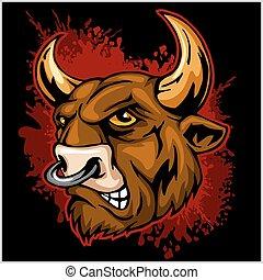 tête, -, illustration, vecteur, taureau, mascotte