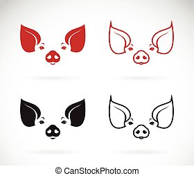 tête, image, cochon, vecteur, fond, blanc