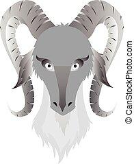 tête, image, vecteur, fond, blanc, chèvres