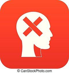 tête, intérieur, croix, humain, numérique, rouges, icône