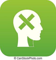 tête, intérieur, croix, vert, humain, numérique, icône