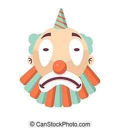 tête, isolé, malheureux, figure, comédien, clown, triste, dessin animé, white.