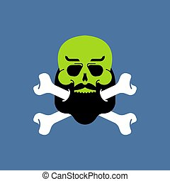tête, isolated., hipster, figure, zombi, barbe, zombies