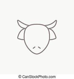 tête, ligne, icon., vache