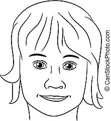 tête, lignes, adolescent, illustration, vecteur, fille noire, contour