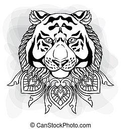 tête, linéaire, vendange, ornement, isolé, illustration, main, tigre, mandala., noir, white., dessiné, blanc, style., dessin