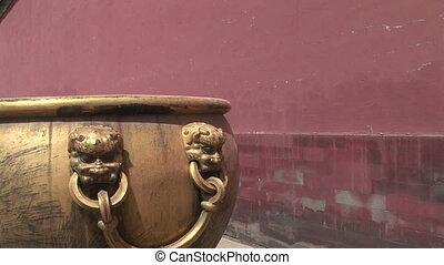 tête, lion, pot, chinois, détail