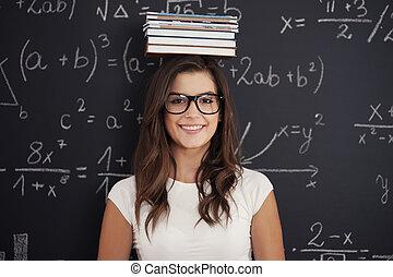 tête, livres, étudiant, elle, heureux