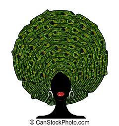 tête, mariage, turban, isolé, nigérien, africaine, headtie, texture., illustration, femme, vecteur, style, afro, fond, wraps., portrait, beauty., noir, african-american, paon, girl, jeune, blanc