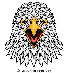 tête, mascotte, aigle, conception, dessin animé