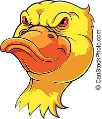 tête, mascotte, canard