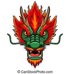 tête, mascotte, chinois, dessin animé, dragon