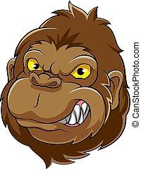 tête, mascotte, gorille, illustration