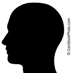 tête masculine, silhouette