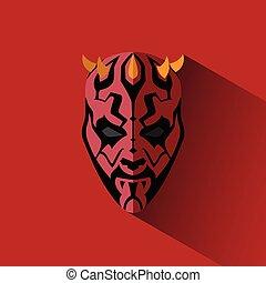 tête, masque, shadow., simplement, cornes, dessin animé, côté, rouges, homme