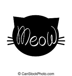 tête, meow, chat, silhouette, lettrage
