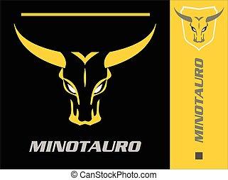 tête, minotaur., bull., sauvage