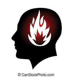 tête, mis feu