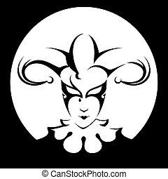 tête, modèle, cirque, isolé,  Illustration,  joker, fond, vecteur, noir, Cercle,  Style