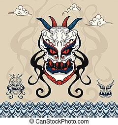 tête, monstre, caractère, style, fond, vecteur, asiatique