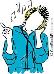 tête, musique, jeune, écoute, homme