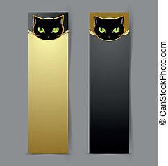 tête, noir, bannières, chat