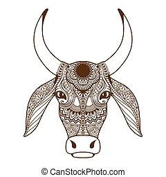 tête, ornement, décoré, vache, zentangle