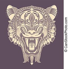 tête, ouvert, dessin, tigre, automne, original