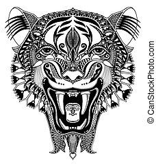 tête, ouvert, original, tigre, noir, automne, dessin