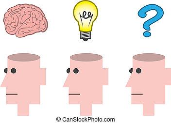 tête, ouvert, pensée