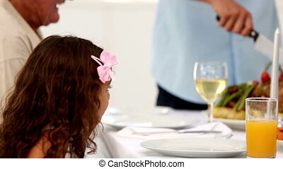 tête, père, dîner, découpage, o