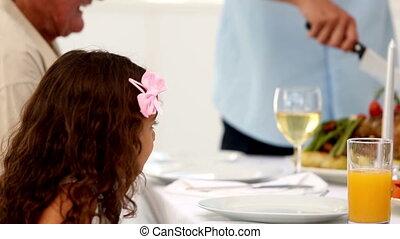 tête, père, dîner, o, découpage