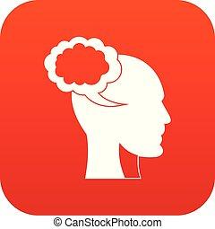 tête, parole, humain, numérique, bulle, rouges, icône