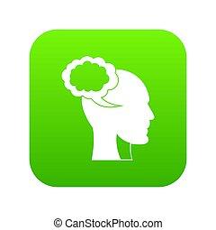 tête, parole, humain, numérique, vert, bulle, icône