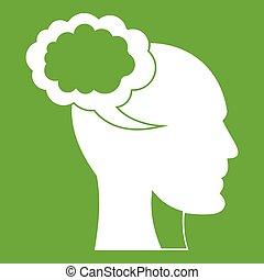tête, parole, humain, vert, bulle, icône