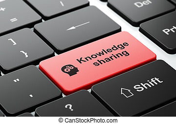 tête, partageant connaissance, informatique, engrenages, fond, clavier, education, concept: