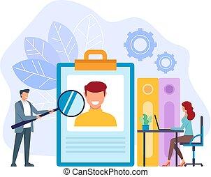 tête plate, graphique, homme affaires, employés bureau, chasseur, isolé, illustration, recherche, recrutement, hh, vecteur, conception, worker., nouveau, concept., dessin animé