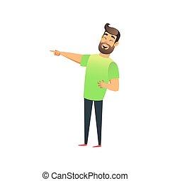 tête plate, sien, funny., pointage, lancement, rire, character., visser, jeune, haut, doigt, quelque chose, homme, eyes., type, heureux, rire