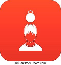 tête, poids, sur, homme numérique, rouges, icône