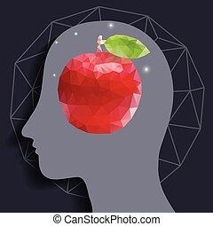 tête, pomme, rouges