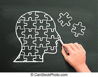 tête, puzzles, main, dessiné, forme