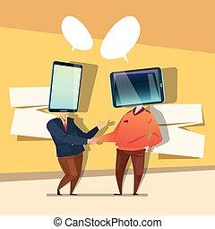 tête, réseau, communication affaires, deux, téléphone portable, social, intelligent, homme