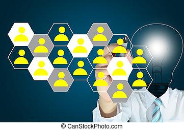 tête, réseau, lumière, écran, écriture, diagramme, lampe, social, toucher, ampoule, mâle, ou