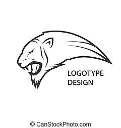 tête, résumé, tigre, conception, logo, icône