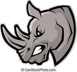 tête, rhinocéros, mascotte