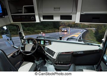 tête, road., conduite, soi, haut, camion, exposer