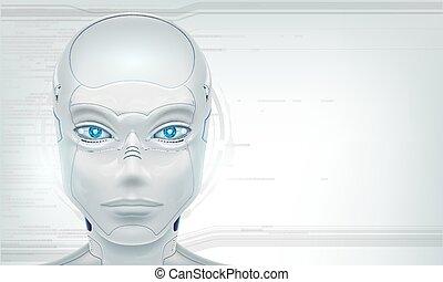 tête, robot, android., fond, blanc, futuriste