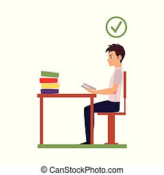 tête, séance, vecteur, bureau, correct, attitude