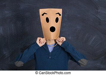 tête, sac, papier, surprise, expression, homme