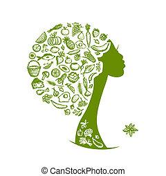 tête, sain, légumes, nourriture, femme, concept